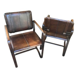 Restoration Hardware Buckle Chairs-A Pair For Sale