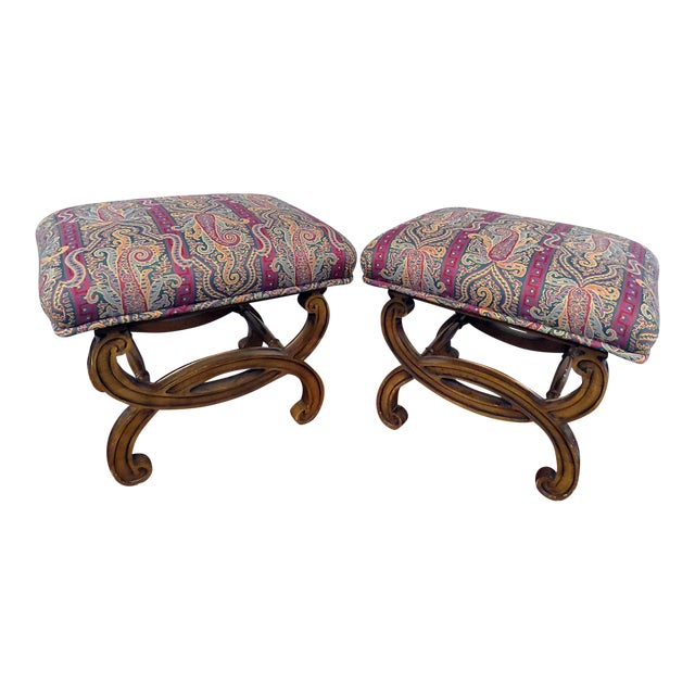Regency Style Tapestry Upholstered Footstools - a Pair For Sale