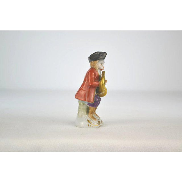 1910s Antique Porcelain Monkey Musician, from Germany, Red Coat For Sale - Image 5 of 8
