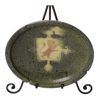 MCM Spanish Studio Pottery Signed Heraldic Design Ceramic Ashtray Catchall For Sale