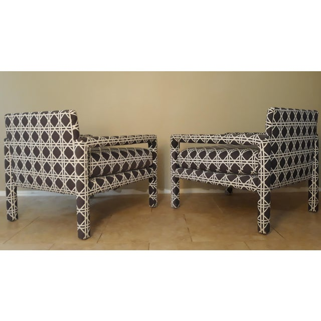 1970s Mid Century Parsons Op Art Crossed Rope Design Black & White Upholstered Club Chairs - a Pair For Sale - Image 5 of 12
