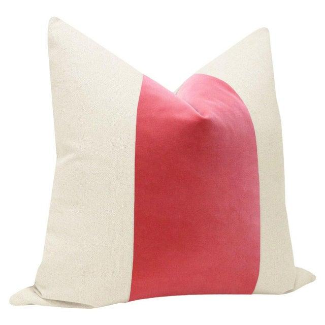 "Contemporary 22"" Rosé Pink Velvet Panel & Linen Pillows - a Pair For Sale - Image 3 of 5"