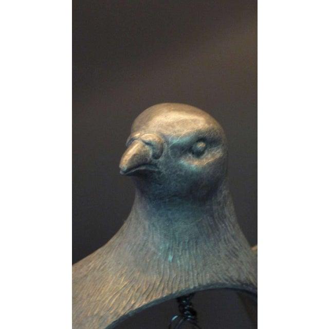 Paul Marra Cast Bronze Rock Dove Lamp in Silvered Bronze - Image 4 of 6