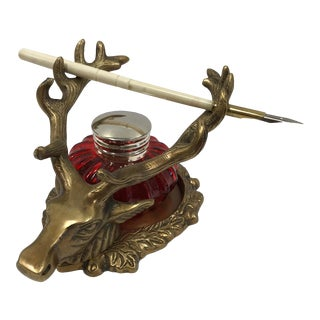 "6-1/2"" Antiqued Solid Brass Stag Inkwell and Pen Set - 3 Pieces For Sale"