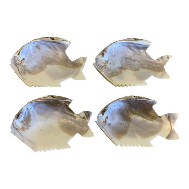 Fish Shaped Shell Appetizer Dishes - a Set of Four For Sale