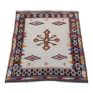 Tribal Square Turkish Vintage Kilim Rug For Sale