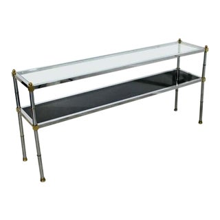 Mid Century Modern Maison Jansen 2 Tier Console Sofa Table Chrome Brass Glass For Sale