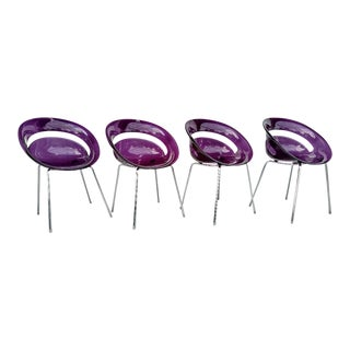 Tina Translucent Purple Chairs, by Arik Levy, Made in Italy, Set of 4 For Sale