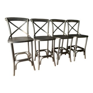 "Ballard Designs Metal Farmhouse ""Constance"" Stools - Set of 4 For Sale"