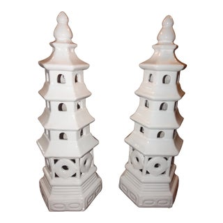 Ivory White Pagoda Statues - A Pair For Sale