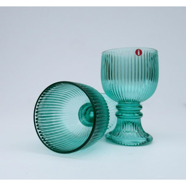 Vintage l'Ittala Crystal Round Fluted Mint Cordial Glasses - Set of 2 For Sale - Image 10 of 13