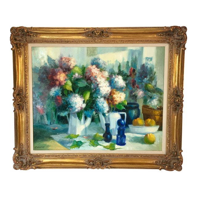 Vintage Still Life With Flowers Oil Painting by Manuel Cuberos For Sale