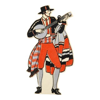 Art Deco Spanish Musician Diecut Bridge Tally Cards - Set of 3