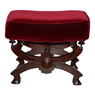 19th C. Carved Mahogany Bench With Dark Red Upholstery For Sale