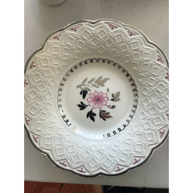 1940s Vintage Wedgwood of Etruria and Barlaston Fine Bone China Pink & Silver Lustre Scalloped Edge Plates - Set of 7 For Sale - Image 5 of 13