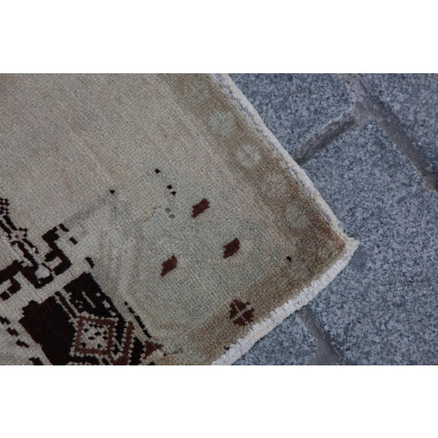 Green Vintage Turkish Muted Colour Carpet - 3' 5'' X 1' 8'' For Sale - Image 8 of 11