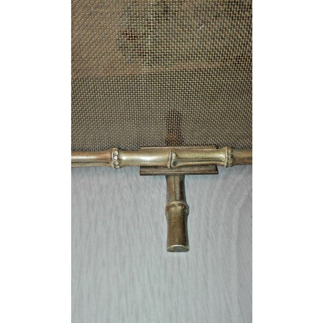 1940s 1940s French Art Deco Maison Bagues Bronze Fireplace Screen - Bamboo For Sale - Image 5 of 11