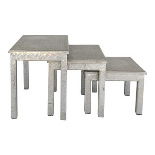 Moroccan Metal-clad Nesting Tables- Set of 3 For Sale