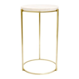 Pasargad Home Carina Marble & Stainless Steel Round Side Table For Sale