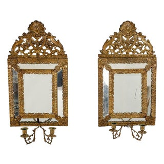 Baroque Style Candlestick Holder Mirrors - A Pair For Sale