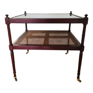 Baker Furniture Cane British Colonial Cocktail Table on Casters For Sale