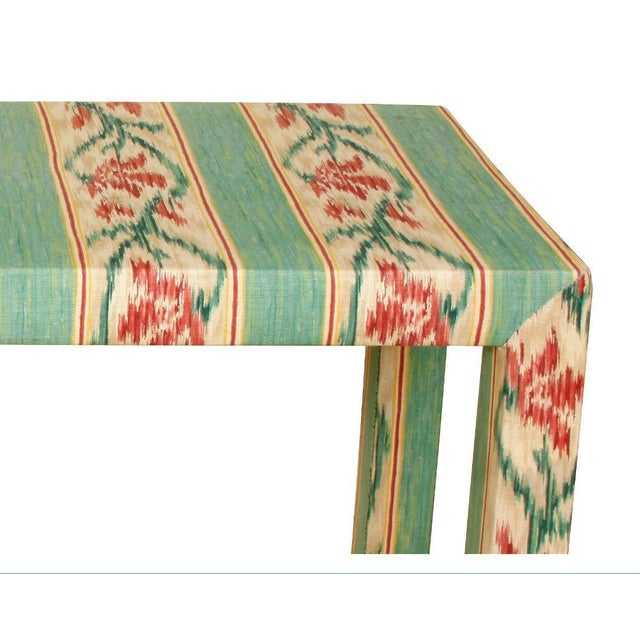 Mid-Century Modern Custom Parsons Style Upholstered Console For Sale - Image 3 of 5