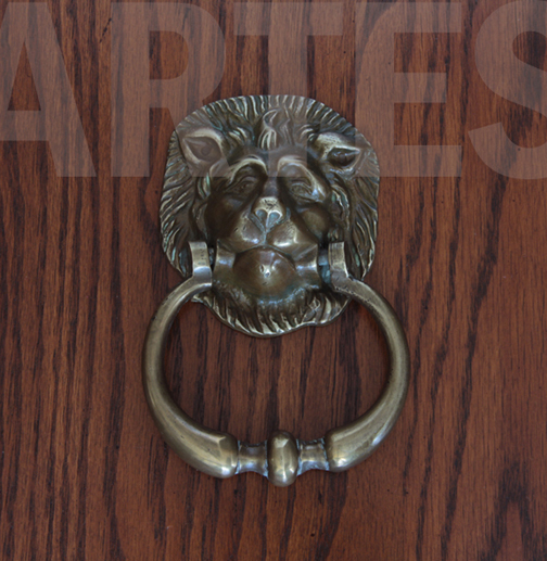 Antique English Brass Lion Door Knocker For Sale   Image 5 Of 5