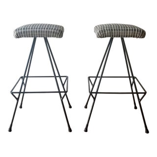 Newly Uphostered Mid-Century Modern Iron Counter Stools - a Pair For Sale