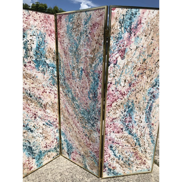 1980s Post Modern Abstract Expressionist Paint Splatter 3 Panel Canvas Painting Room Divider Screen For Sale - Image 4 of 9