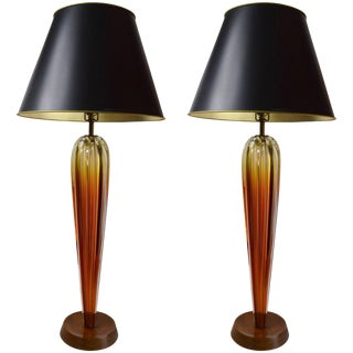 Elegant Pair of Seguso Table Lamps For Sale