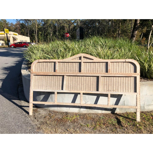 1970s Vintage Rattan King Headboard For Sale - Image 5 of 9