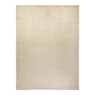 """Eclectic, One-Of-A-Kind Hand-Knotted Area Rug - Beige, 10' 2"""" X 13' 4"""" For Sale"""