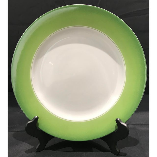Contemporary Lynn Chase Green and White Chargers - Set of 6 For Sale - Image 3 of 11