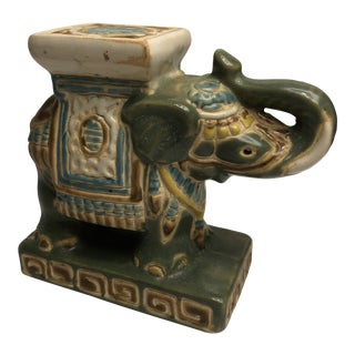 Vintage Chinese Ceramic Elephant Countertop Plant Stand For Sale