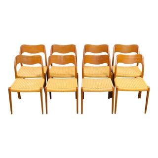 1960s Vintage Niels Otto Møller for j.l. Møller Model 71 Dinner Chairs- Set of 8 For Sale