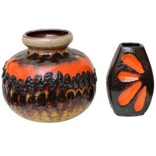 Two Ceramic German Textural Vases/Vessels/Objects For Sale
