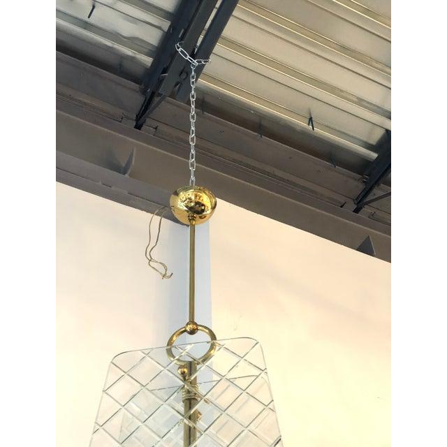 Mid Century Modern Italian Cut Crystal & Brass Chandelier by Pietro Chiesa for Fontana Arte - Image 8 of 9