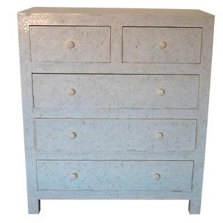 Boho Chic White Bone Inlay Standard Dresser For Sale