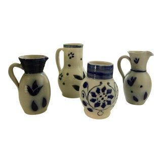 Salt Glazed Vintage Stoneware Pitchers - Set of 4 For Sale