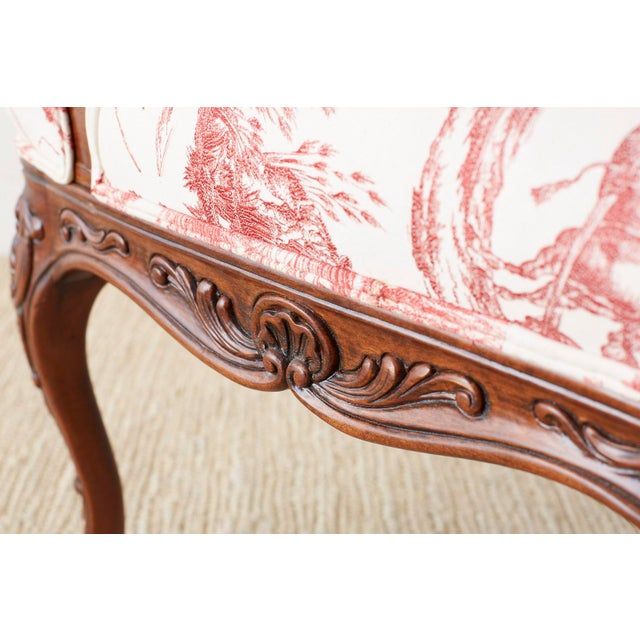 Pair of French Provincial Style Walnut Toile Fauteuil Armchairs For Sale In San Francisco - Image 6 of 13