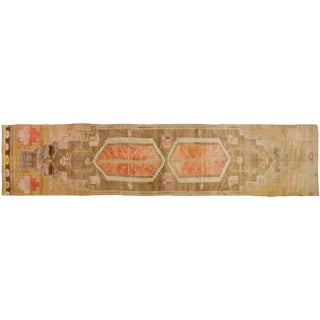 "1930s Traditional Asian Brown and Orange Wool Khotan Rug - 3'5""x16'4"""