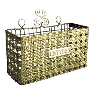 Early Victorian Brass Mesh Letter Holder For Sale