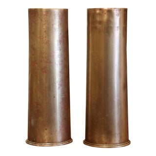 Pair of Ww1 British Brass Artillery Shells Dated 1915 For Sale