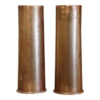 Ww1 British Brass Artillery Shells Dated 1915 - a Pair For Sale