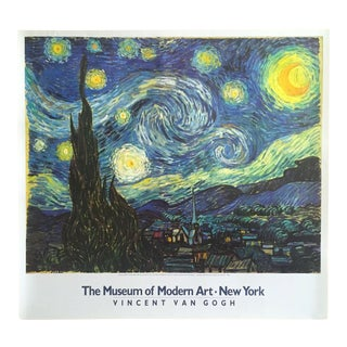 """Vincent Van Gogh Vintage 1985 Lithograph Print Moma Poster """"Starry Night"""" 1889"""