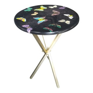 Italian Diminutive Fornasetti Black Butterfly Table For Sale