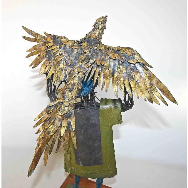 Engraving 1960s Abstract Bob Fowler Metal Art Work Sculpture of Man Holding Eagle For Sale - Image 7 of 11