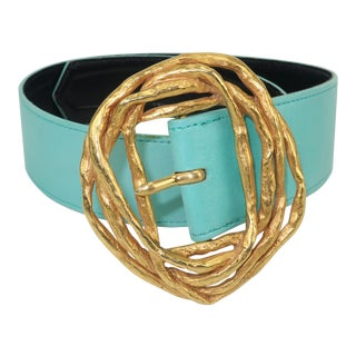 Christian Lacroix Sculptural Gold Tone Buckle & Aqua Leather Belt For Sale