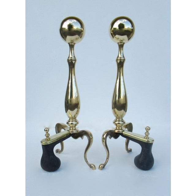 C1970s Vintage American Regency Brass Claw-Footed Andirons - a Pair For Sale In West Palm - Image 6 of 13