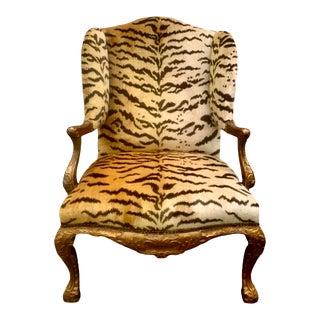 Louis XV Style Fauteuil Aux Oreilles in Scalamandré Le Tigre Silk Velvet For Sale